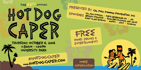 Join us at Hot Dog Caper, October 6, 2016 from 11:30 to 1:pm at University Park