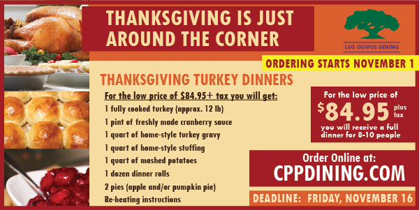 Order you Thanksgiving Turkey Dinner from Los Olivos. Click banner to order.